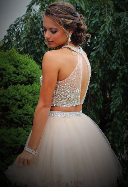 Fashion Two Pieces Beads Backless Short Prom Cute Dress Homecoming Dresses Party Gowns LD480
