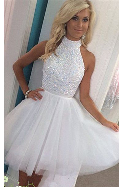 Hot Sales White Beadings Open Back Cheap Short Prom Cute Dress Homecoming Dresses Party Gowns LD481