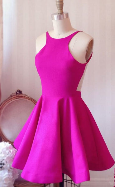 Hot Pink Backless Sexy Straps Short Prom Dress Homecoming Dresses Party Gowns LD484