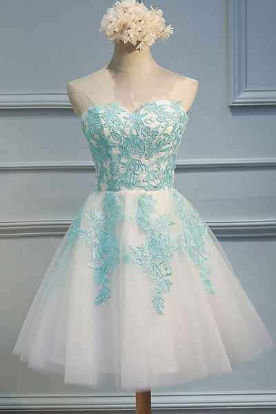 Charming A Line Lace Ivory Short Prom Homecoming Dresses Party Gowns Graduation Dress LD486