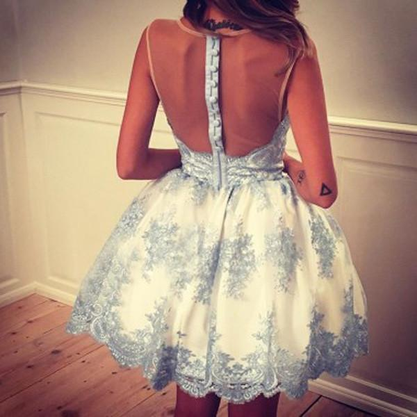 New 2018 Ivory / Blue Lace Backless Short Prom Homecoming Dresses Party Gowns Cute Dress LD487