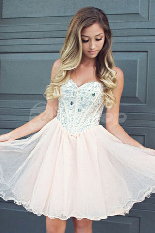 Sweetheart Light Pink Tulle Short Prom Homecoming Dresses Party Dress With Lace Back Up LD489