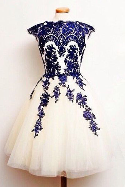 Cap Sleeves Navy Blue Lace Short Prom Cute Homecoming Dresses Party Graduation Dress LD491