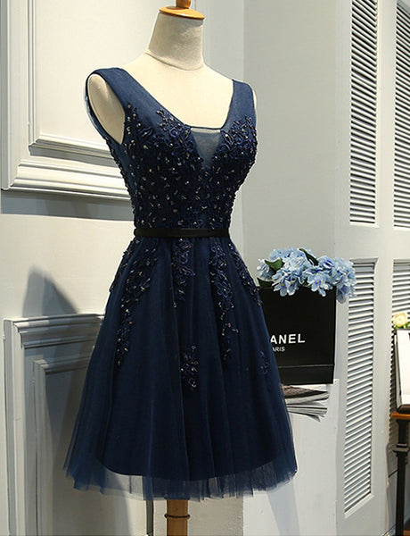 Hot Sales V Neck Navy Blue Lace Short Prom Dress Homecoming Dresses Party Gowns LD493