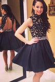 High Neck Open Back Black Lace Short Prom Homecoming Dress Cocktail Dresses LD496