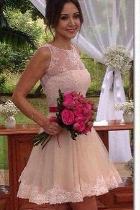 Hot Sales See Through Back Lace Short Prom Dresses Homecoming Dress Party Gowns LD497