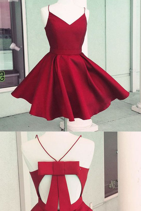 Open Back Spaghetti Straps Burgundy Bow Cheap Homecoming Dresses Prom Cute Dress LD498