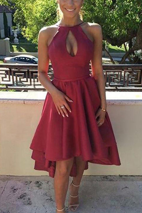 Backless Front Short Long Back Burgundy Sexy Prom Dresses Homecoming Dress Party Gowns LD499