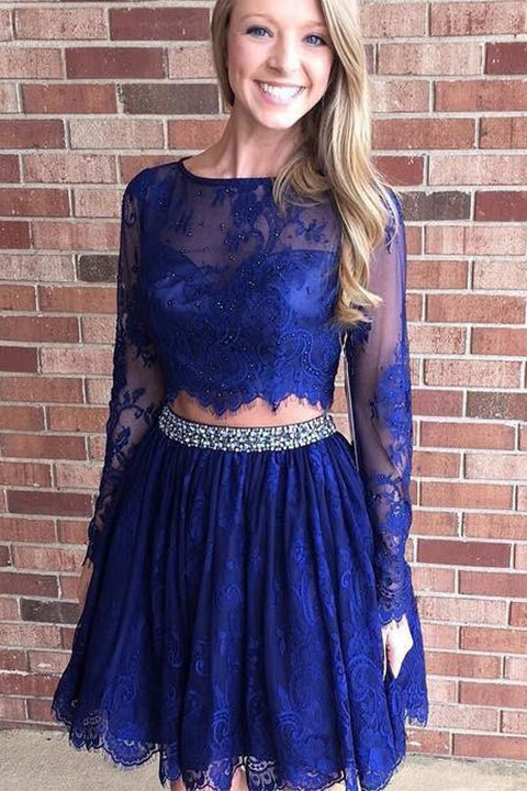 Two Pieces Long Seeves Royal Blue Lace Short Prom Dress Homecoming Dresses Party Gowns LD501