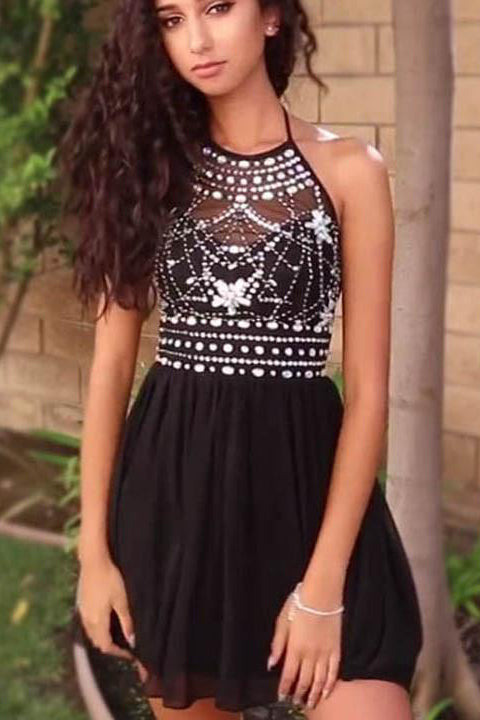 Open Back Halter Beading Black Short Prom Gowns Homecoming Dresses Party Dress LD503