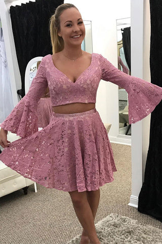 Horn Long Sleeves 2 Piece Lace Mini Length Prom Homecoming Dress Party Gowns LD504