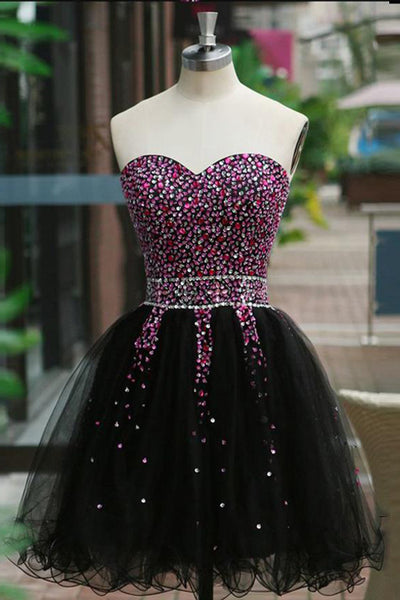 A Line Black Tulle Beads Short Prom Cute Dresses Homecoming Dress Party Gowns LD508