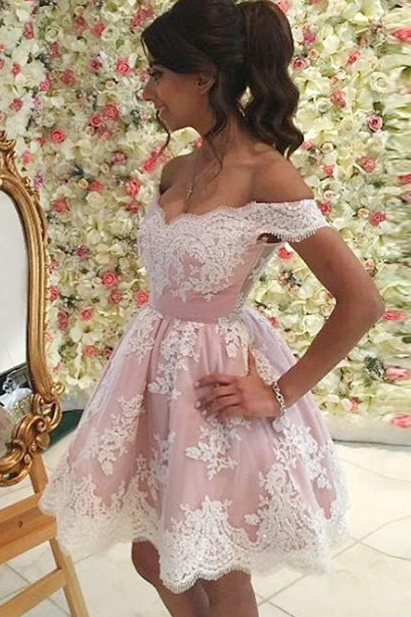 Off the Shoulder White Lace Pink Homecoming Dresses Short Prom Gowns Party Dress LD512