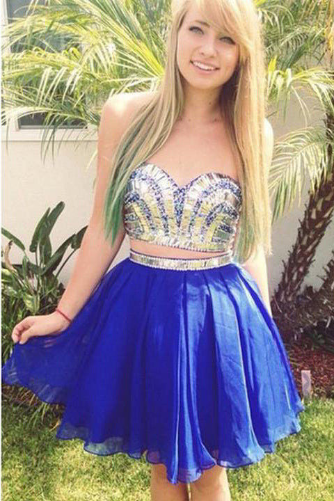 Two Pieces Royal Blue Chiffon Sexy Homecoming Dresses Short Prom Dress Party Gowns LD514