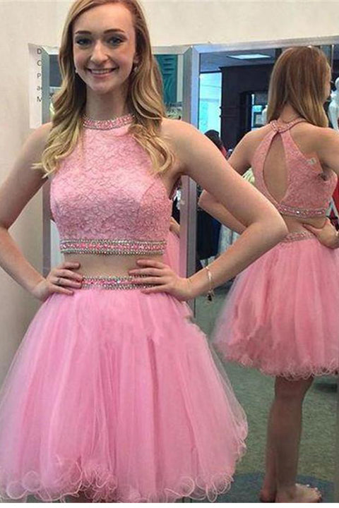 Hot Pink Lace Two Piece Open Back Homecoming Dress Short Prom Cute Dresses Party LD517