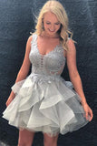 Backless Silver Grey Lace Tiered Skirt Homecoming Dresses Cute Dress Prom Gowns LD518
