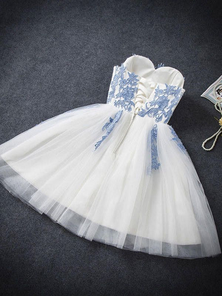 Hot Sales Sweetheart Light Blue Lace Ivory Tulle Homecoming Dresses Short Prom Cute Dress LD520