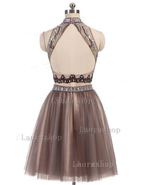 New Arrival High Neck 2 Pieces Backless Homecoming Dresses Short Prom Cute Dress Party Gowns LD523