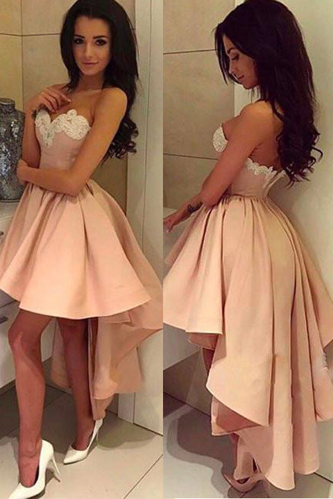 Front Short Long Back Blush Pink Charming Homecoming Dresses Prom Cute Dress For Party LD525