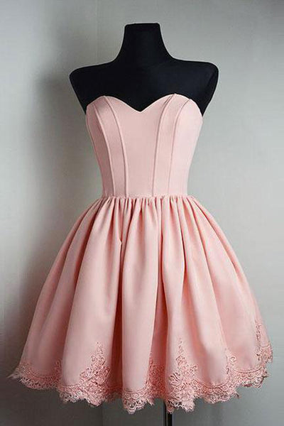 Elegant Blush Pink Appiques Short Homecoming Dress Prom Cute Dresses Party Gowns LD528