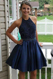 Halter Beaded Navy Blue Homecoming Dresses Short Prom Cute Dress Party Gowns LD533