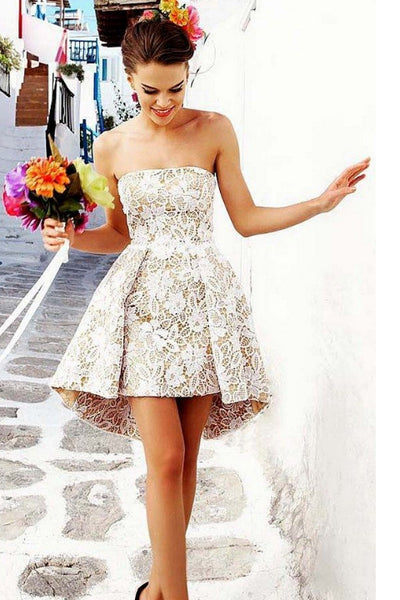New Arrival White Lace Strapless Short Homecoming Dresses Cheap Prom Dress Party Gowns LD535