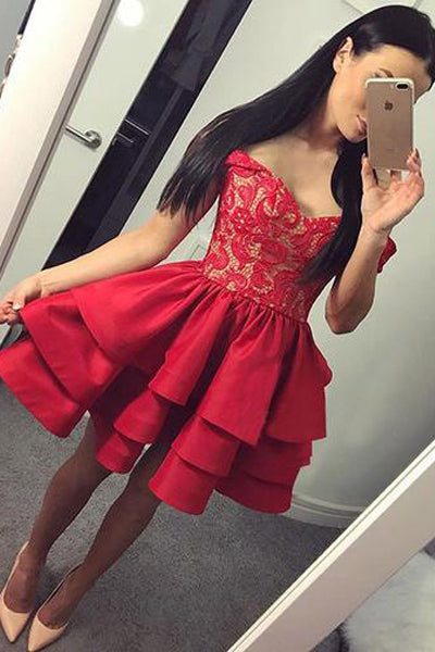 Red Lace Tiered Skirt Off the Shoulder Homecoming Dress Short Prom Dresses Party Gowns LD536