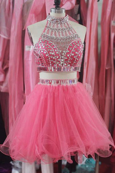 2 Pieces Cute Dresses Hot Pink Halter Homecoming Dress Short Prom Party Gowns LD539