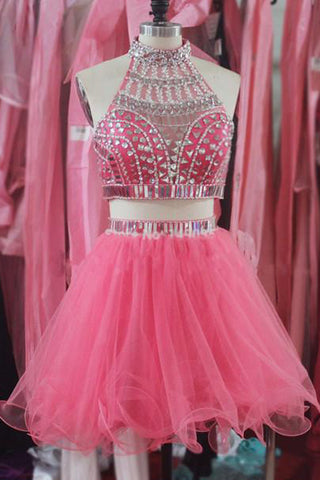 86c3dfbf5ba 2 Pieces Cute Dresses Hot Pink Halter Homecoming Dress Short Prom Gown –  Laurafashionshop