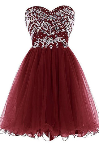 Sweetheart Burgundy Empire Waist Homecoming Dresses Short Prom Cocktail Dress LD540
