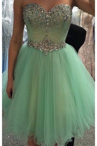 Hot Sales Sage Beads Sweetheart Cute Homecoming Dresses Short Prom Dress For Party LD541
