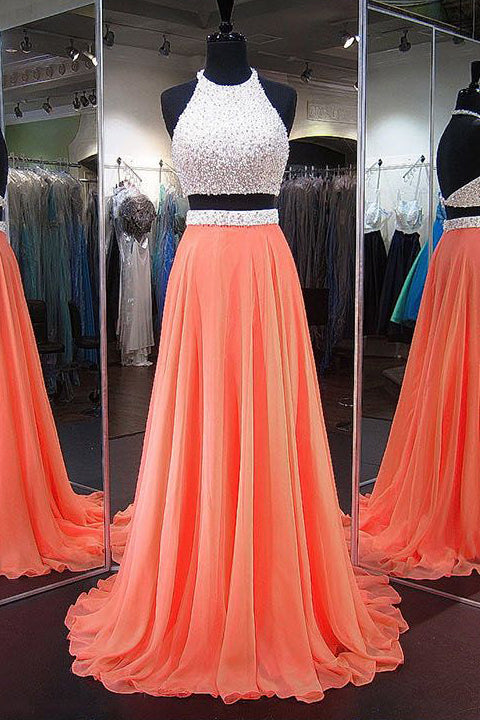 2 Pieces Backless Halter Orange Prom Dresses Evening Dress Prom Gowns Party Dress LD544