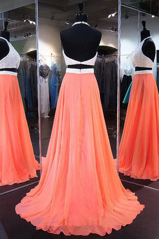 2 Pieces Backless Orange Prom Dresses Evening Dress Prom Party Dress ...