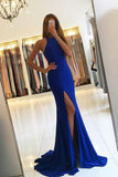 Elegant Royal Blue Mermaid Silt Long Prom Dresses Evening Dress Prom Party Dress LD547