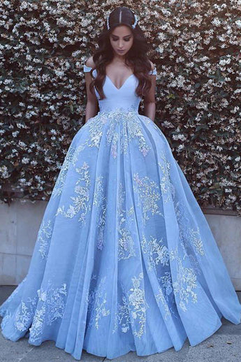 New Arrival Lace Ball Gown V Neck Long Prom Dresses Evening Dress Quinceanera Dresses LD550