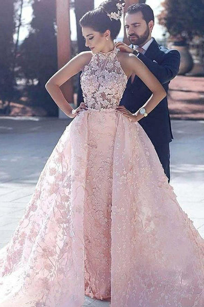 New Arrival See Through Pink Lace Luxury Prom Dresses Evening Prom Gowns Party Dress LD553