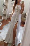 Charming Halter Ivory Lace Silt Long Prom Dress Evening Dresses Graduation Dress LD555