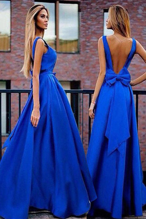 Elegant Royal Blue Off the Shoulder Backless Long Prom Dress Evening Dresses Prom Gowns LD557