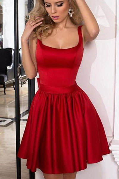 Simple Red Satin Off the Shoulder Cheap Homecoming Dresses Short Party Prom Dress LD568