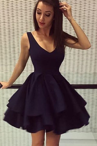 V Neck Off the Shoulder Black Satin Backless Homecoming Dress Short Prom Dresses Party Gowns LD569