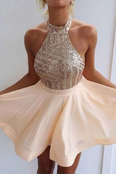 Rose Gold Sequin Halter Backless Homecoming Dresses Mini Prom Dress Party Gowns LD570