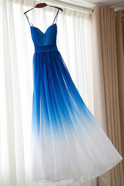 Spaghetti Straps Royal Blue Ombre Elegant Cheap Prom Dresses Evening Dress Bridesmaid Dress LD572