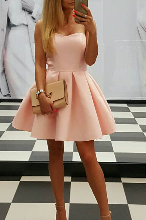 Blush Pink Cheap Homecoming Dress,Elegant Mini Homecoming Dresses Cute Party Prom Dress LD573