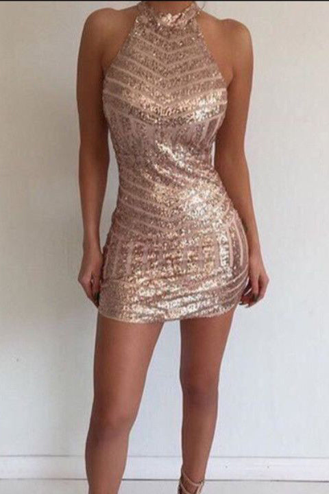Open Back Halter Rose Gold Sequin Mermaid Homecoming Dresses Mini Prom Dress LD574