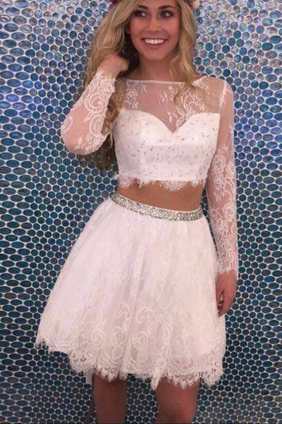 Two Pieces White Lace Backless Homecoming Dresses Cute Party Gowns Prom Dress LD575