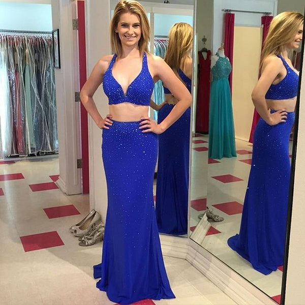 Two Pieces Royal Blue Backless V Neck Sexy Mermaid Prom Dresses Evening Dress Prom Gowns LD578