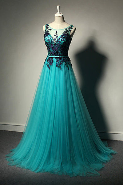Hot Sales Navy Blue Lace Green Prom Dresses Evening Dress Back V Prom Gowns LD580