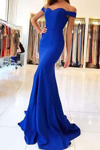 Sexy Off the Shoulder Royal Blue Mermaid Long Prom Dresses Evening Dress Prom Gowns LD582