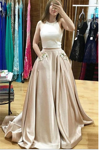 2 Pieces Bodice Satin Halter Elegant Long Prom Dresses Evening Dress Prom Gowns With Pocket LD583