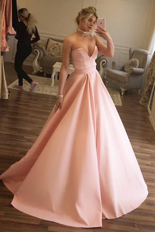 A Line V Neck Empire Waist Pink Satin Cheap Prom Dresses Prom Gowns Evening Dresses LD584